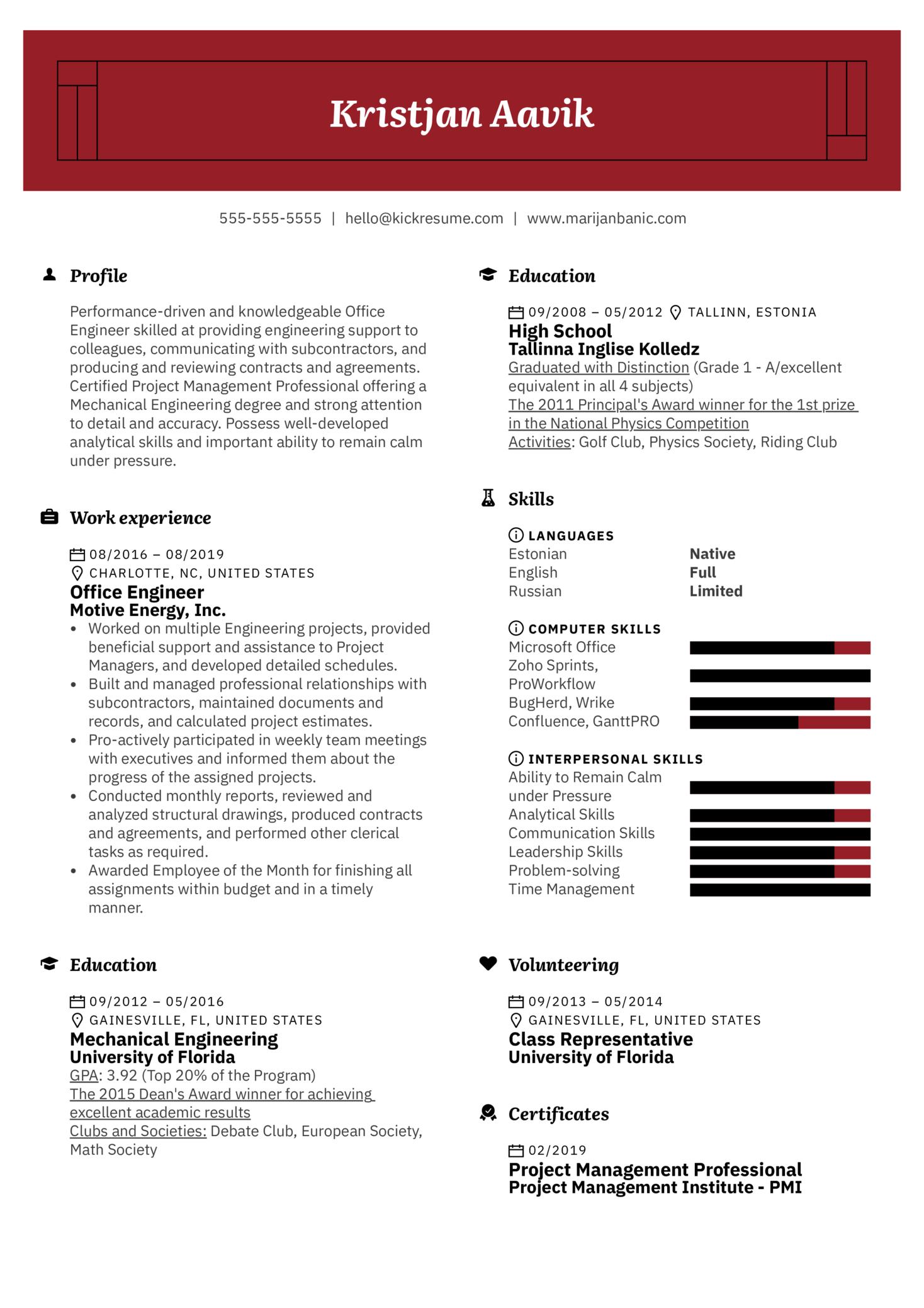 Office Engineer Resume Sample (Parte 1)