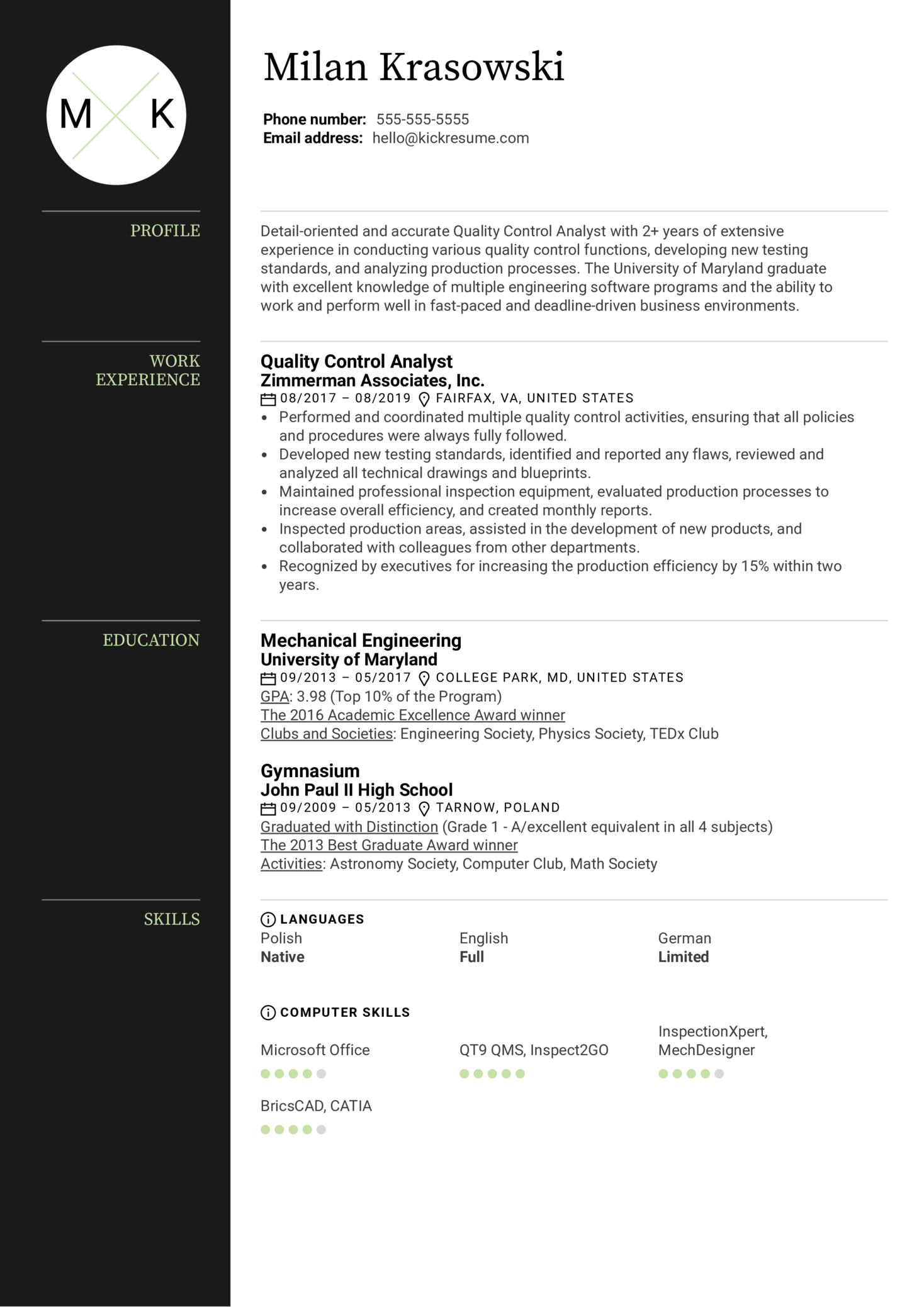 Quality Control Analyst Resume Example (Teil 1)