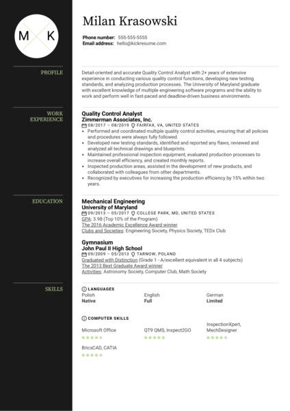 Quality Control Analyst Resume Example