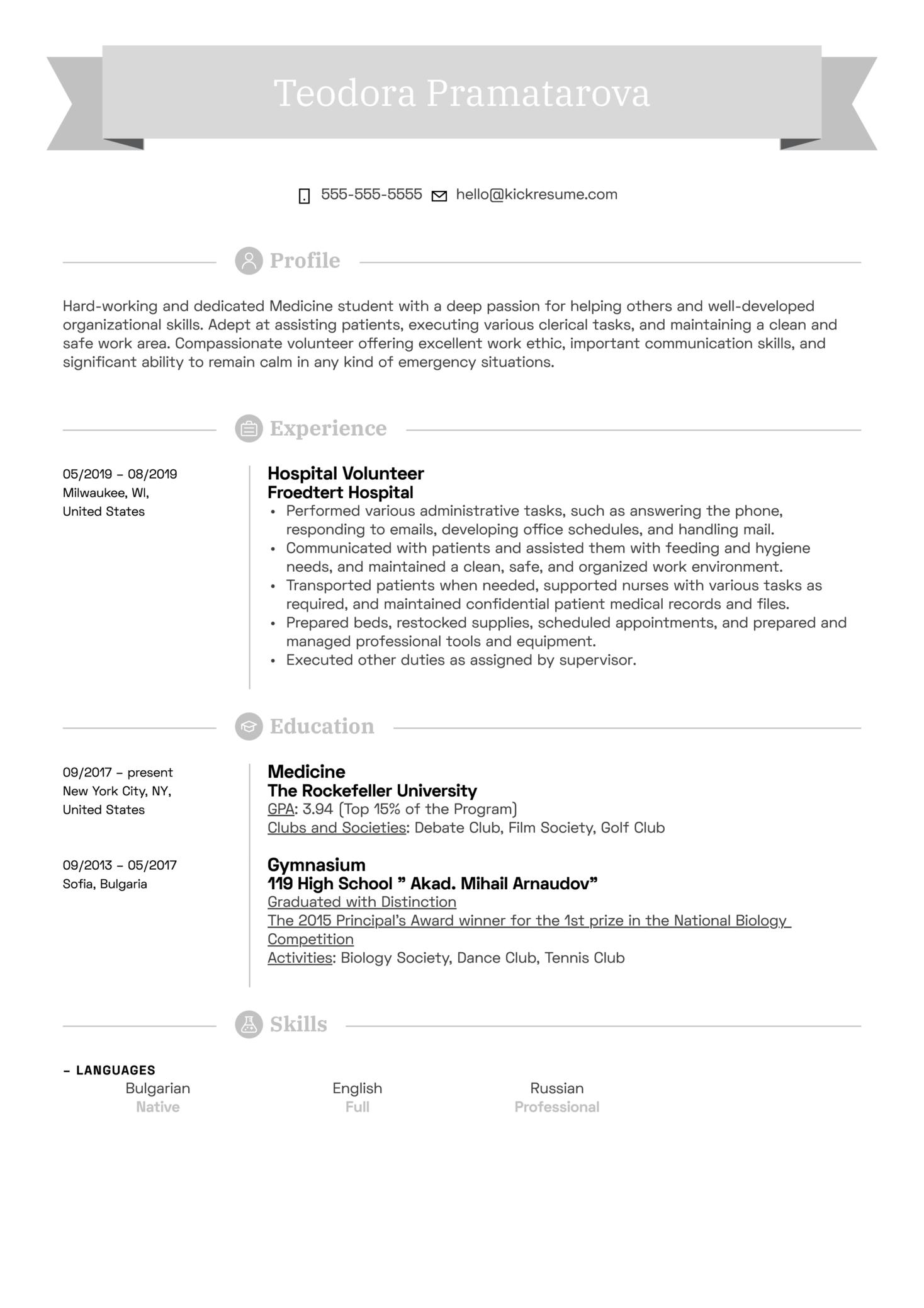 Hospital Volunteer Resume Example (parte 1)