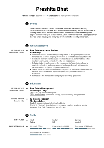 Real Estate Appraiser Trainee Resume Example