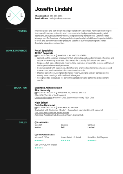 Retail Specialist Resume Example