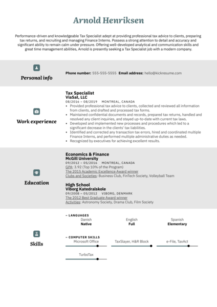 Tax Specialist Resume Sample