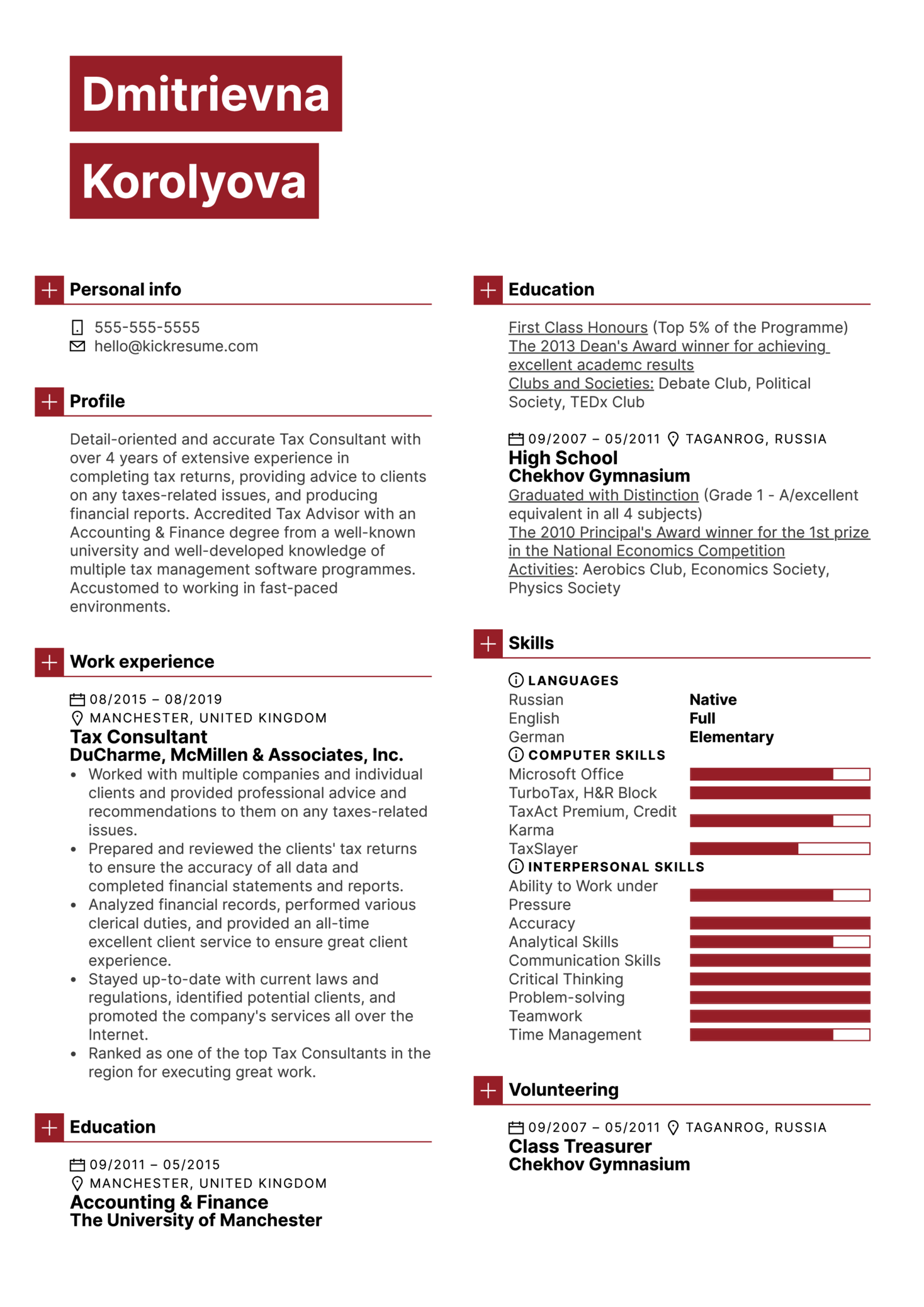 Tax Consultant Resume Template (Teil 1)