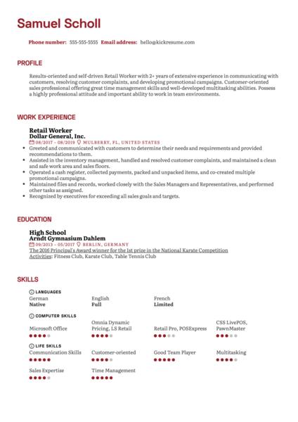 Retail Worker Resume Example
