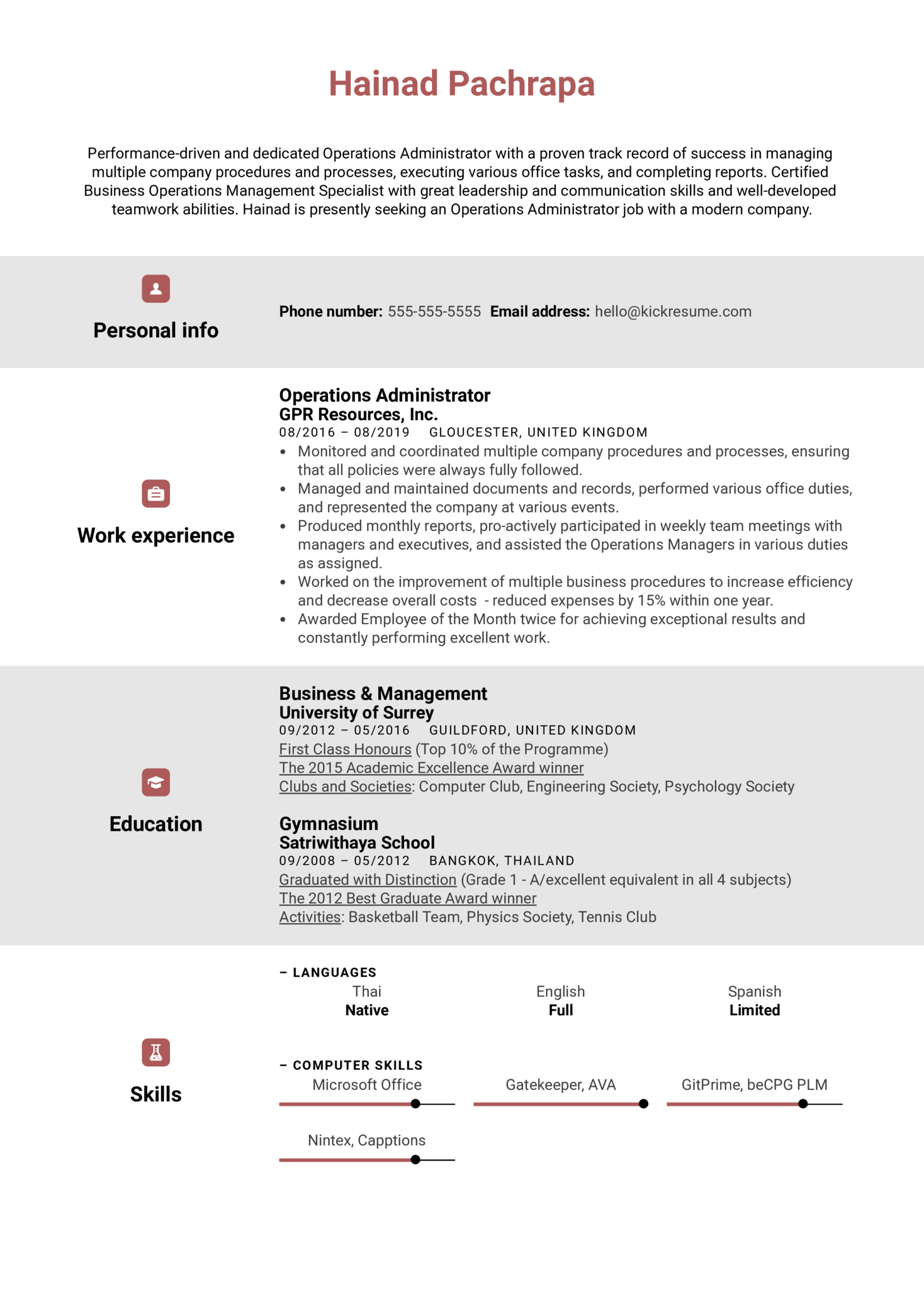 Operations Administrator Resume Example (Parte 1)