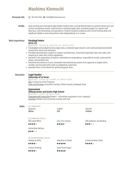 Paralegal Intern Resume Example