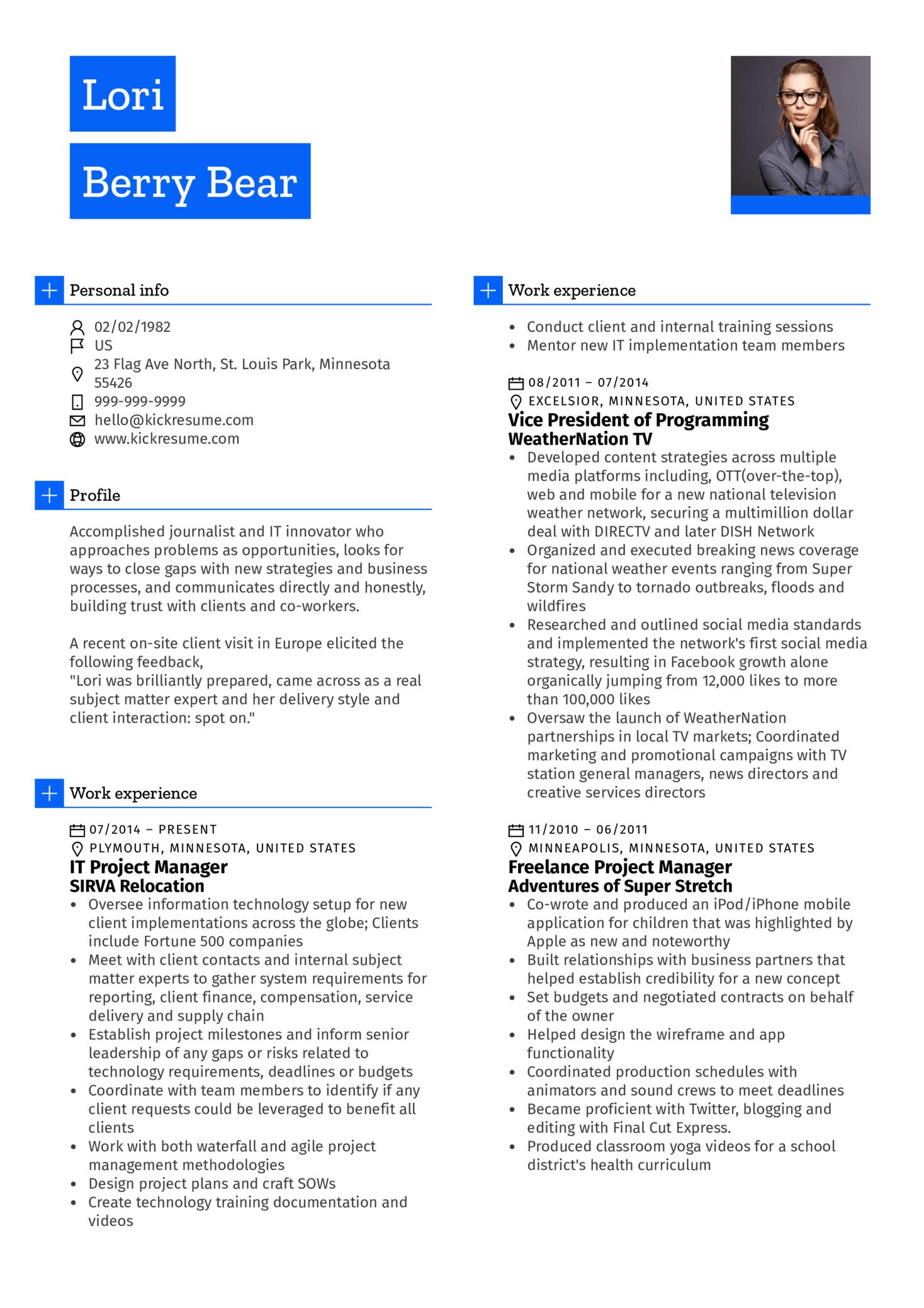 Project Manager, Journalist CV Sample (Parte 1)