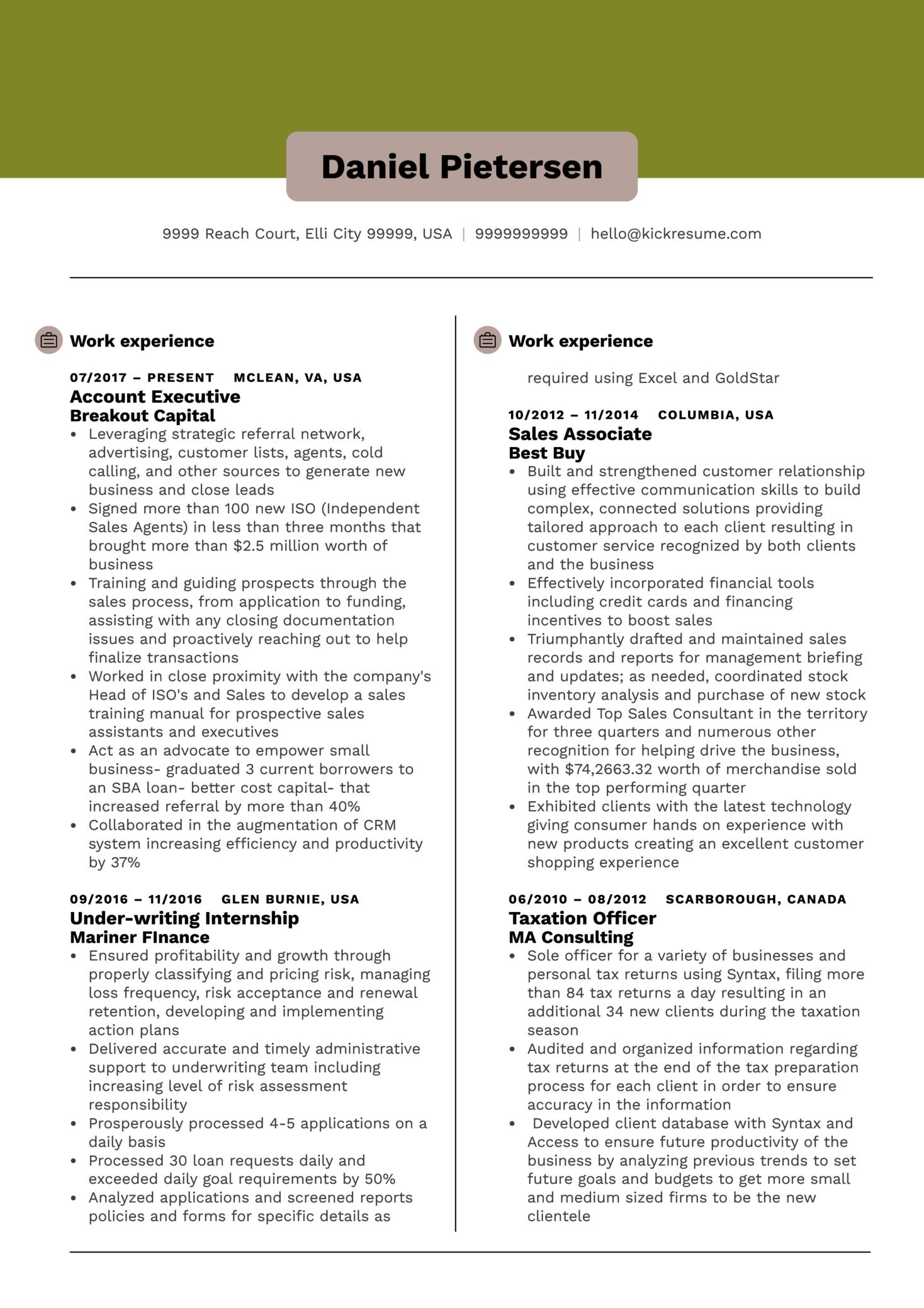 Account Executive Resume Sample (časť 1)