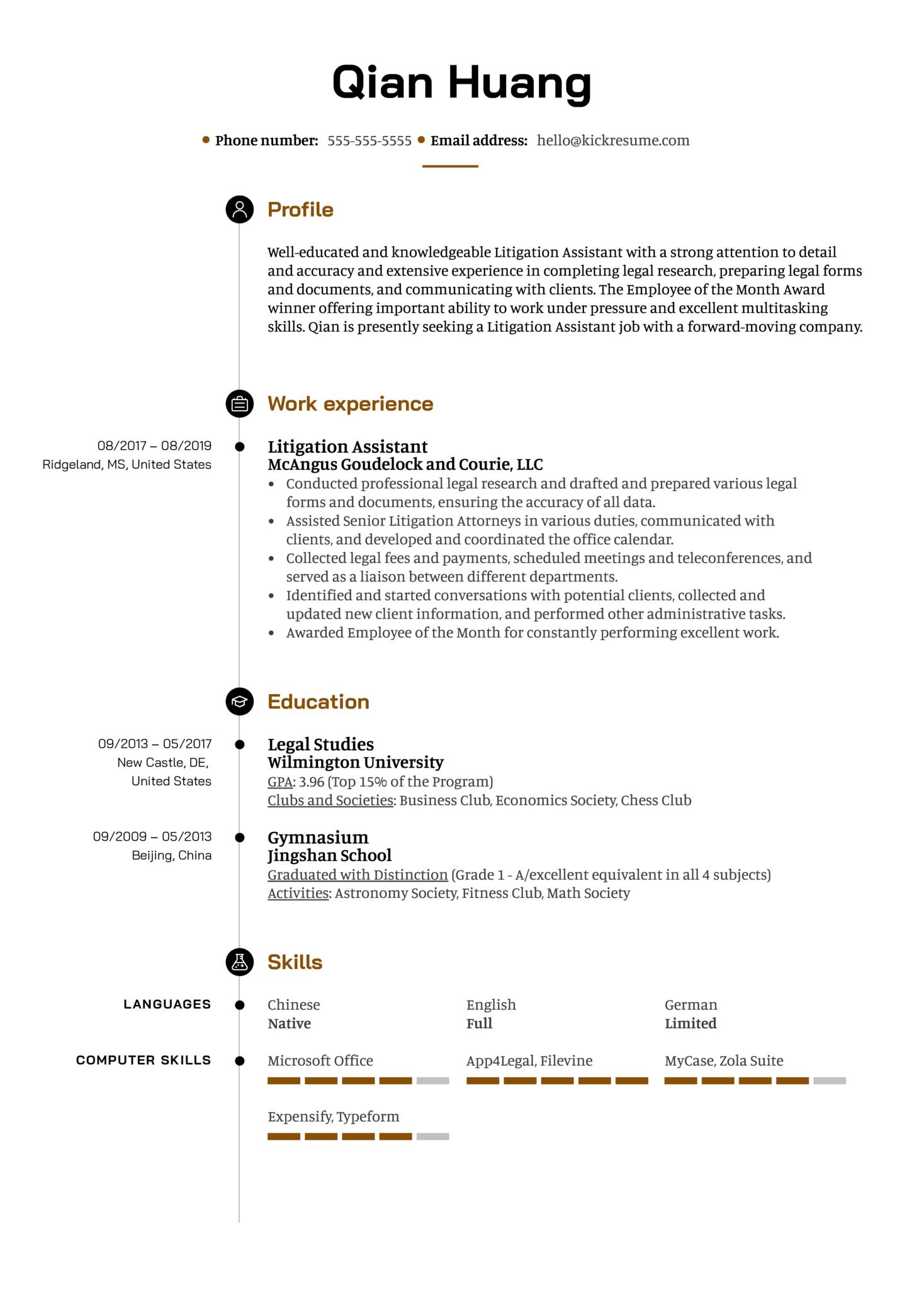 Litigation Assistant Resume Example (časť 1)