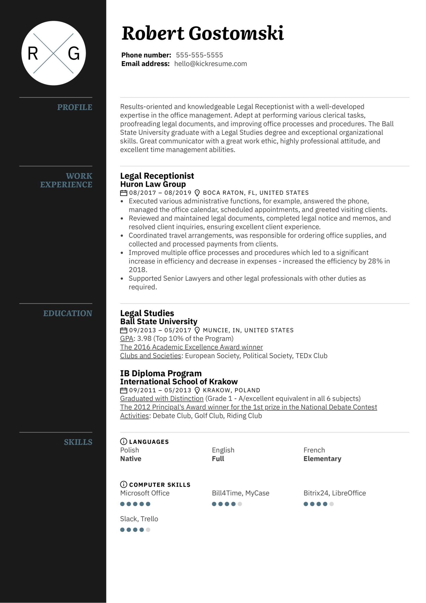 Legal Receptionist Resume Template (Teil 1)