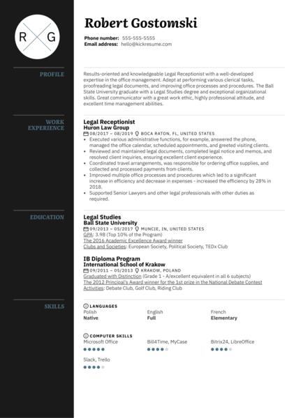 Legal Receptionist Resume Template