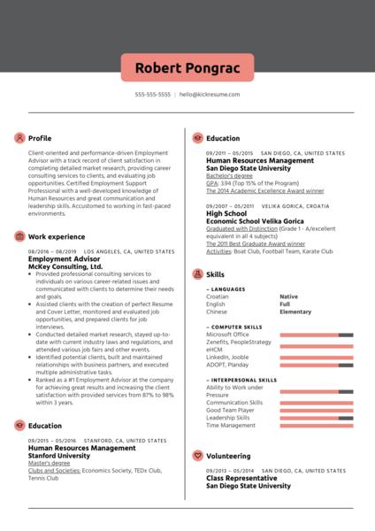 Employment Advisor Resume Sample