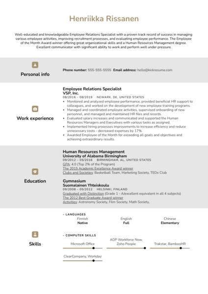 Employee Relations Specialist Resume Example