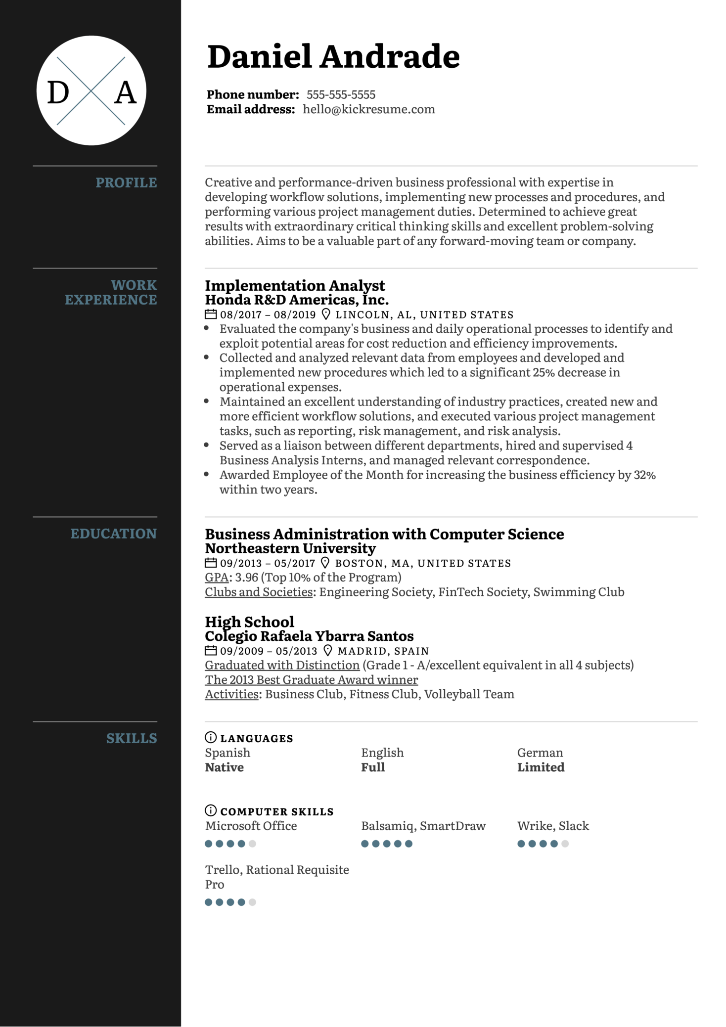 Implementation Analyst Resume Sample (Part 1)