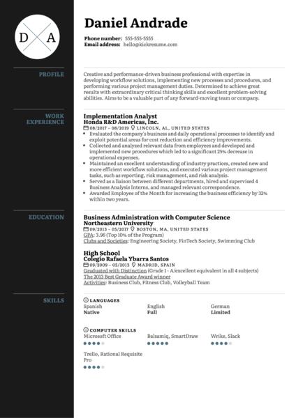 Implementation Analyst Resume Sample