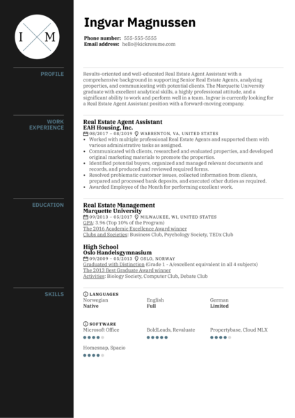 Real Estate Agent Assistant Resume Example