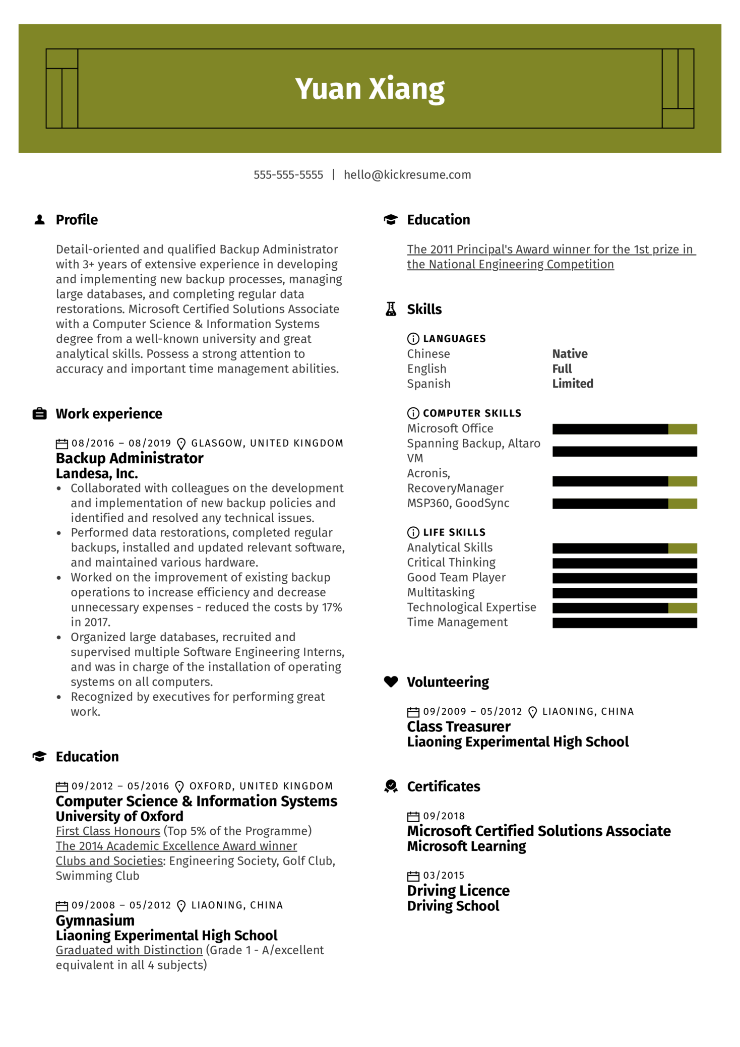 Backup Administrator Resume Example (Parte 1)