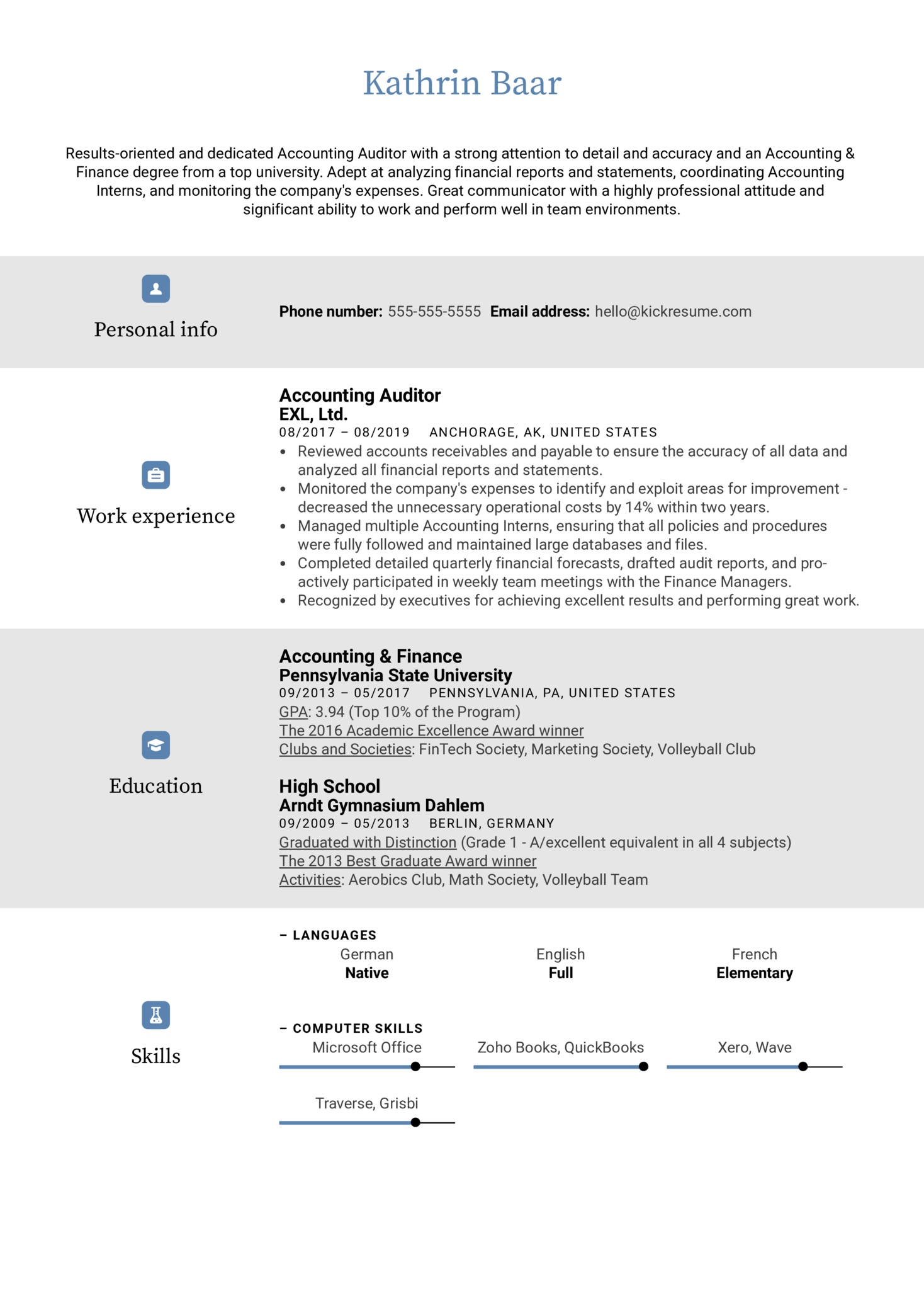 Accounting Auditor Resume Sample (Part 1)