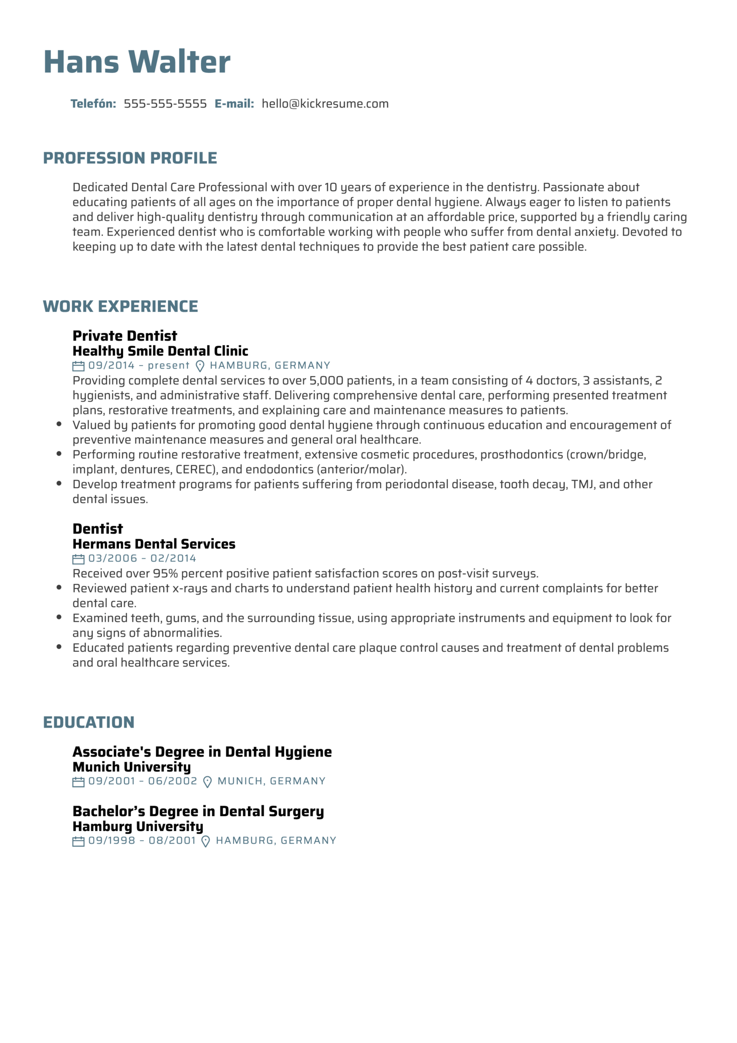 Dentist Resume Example (Teil 1)