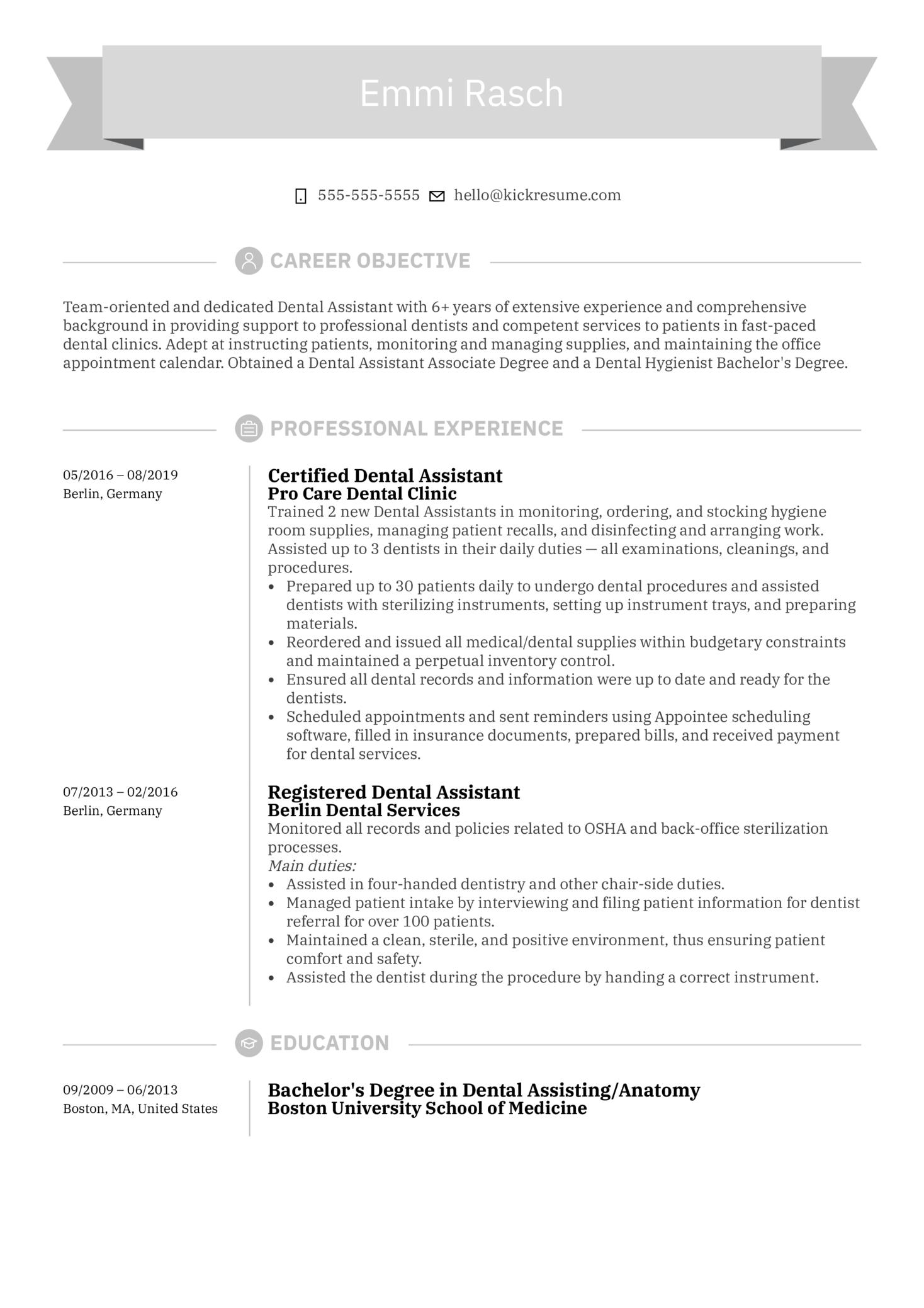 Dental Assistant Resume Sample (Parte 1)