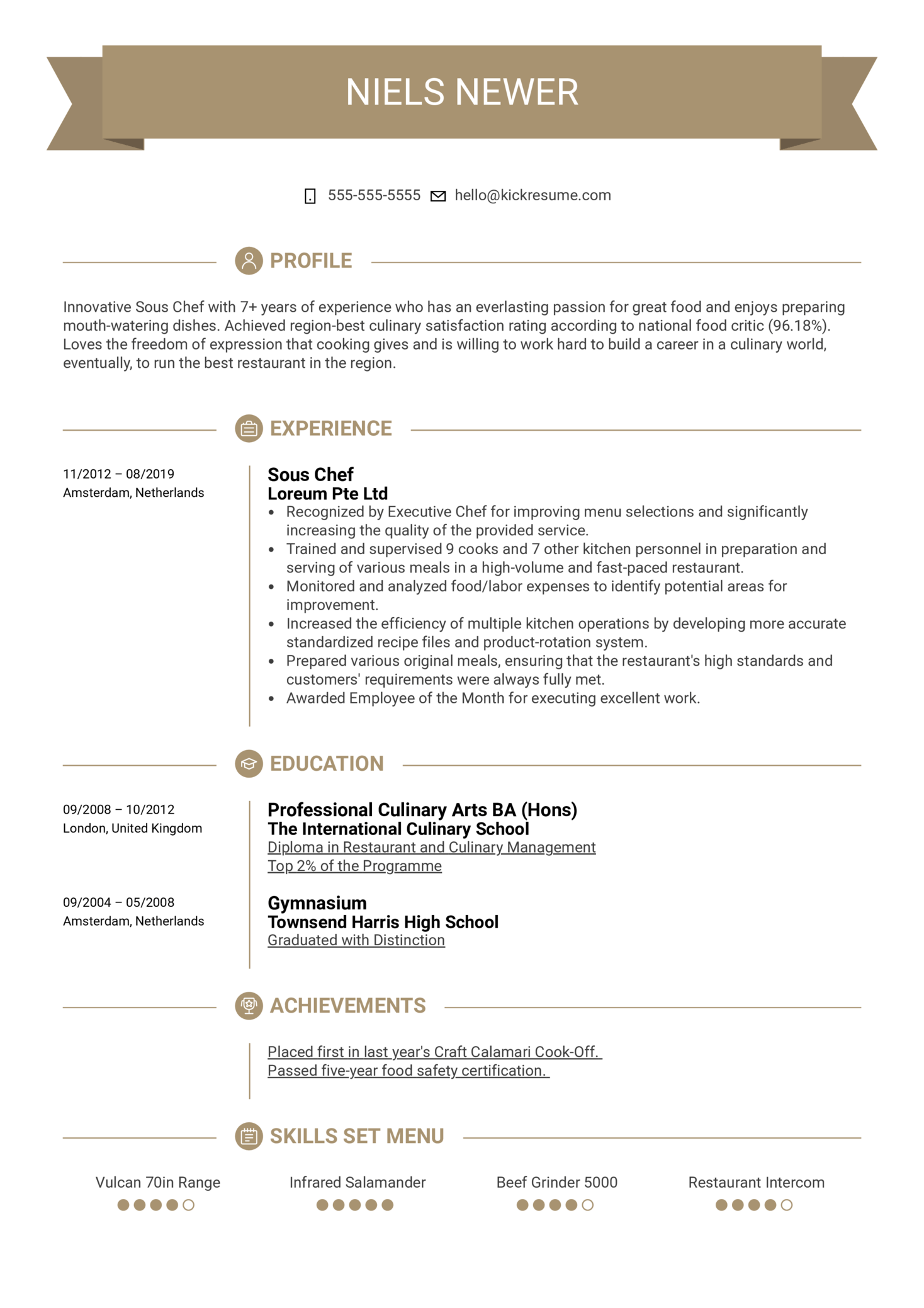 Sous Chef Resume Template (parte 1)