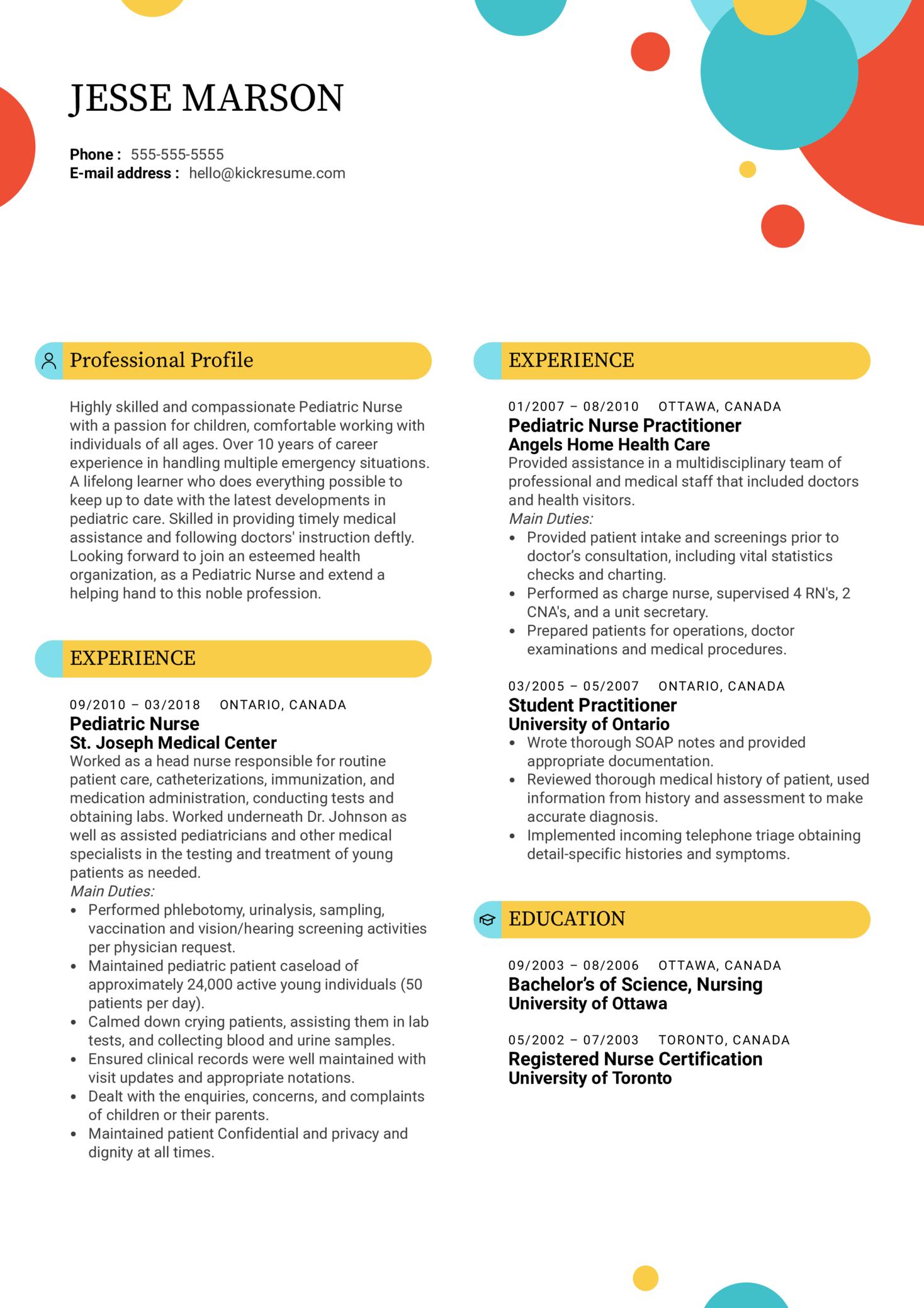 Pediatric Nurse Resume Example (Part 1)
