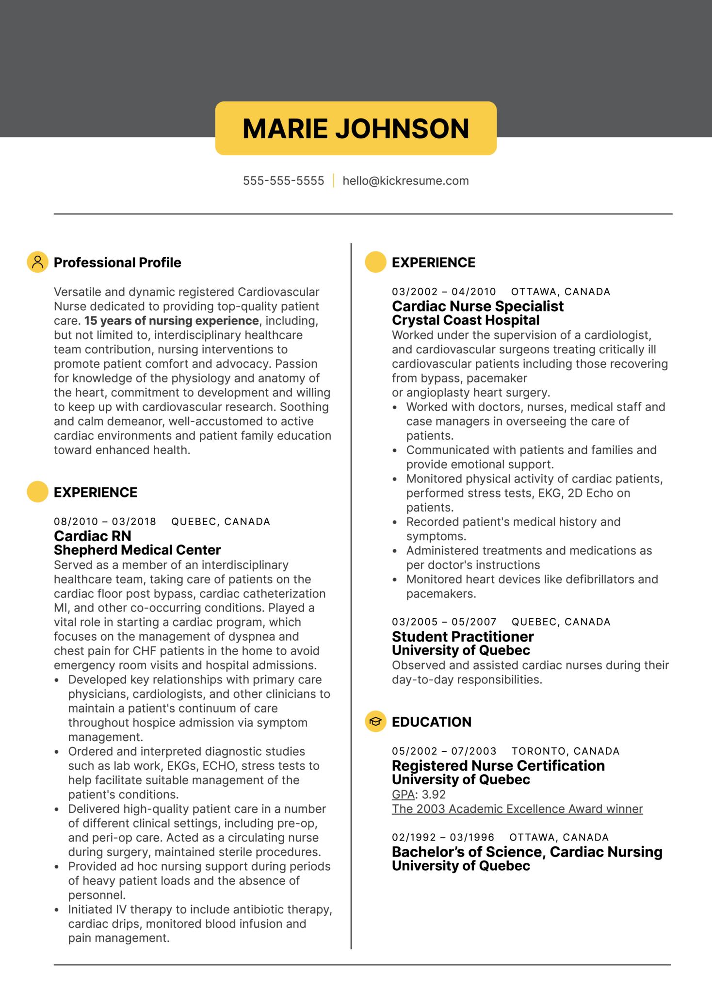 Cardiac Nurse Resume Sample (Part 1)
