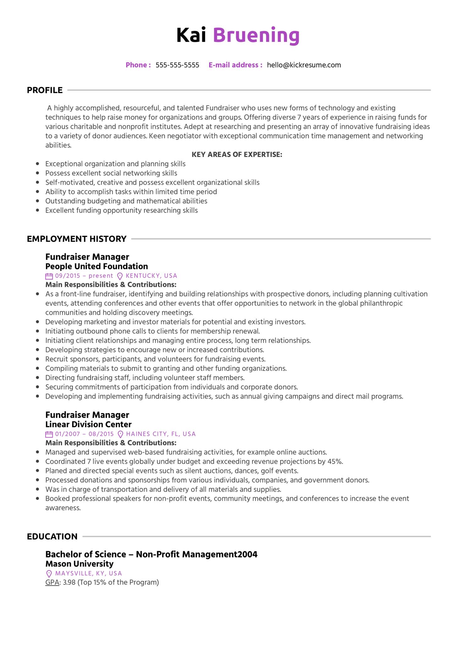 Fundraiser Manager Resume Sample (Part 1)
