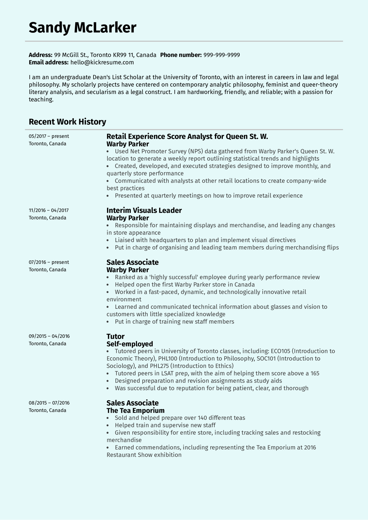 Retail Experience Analyst at Warby Parker Resume Sample (parte 1)
