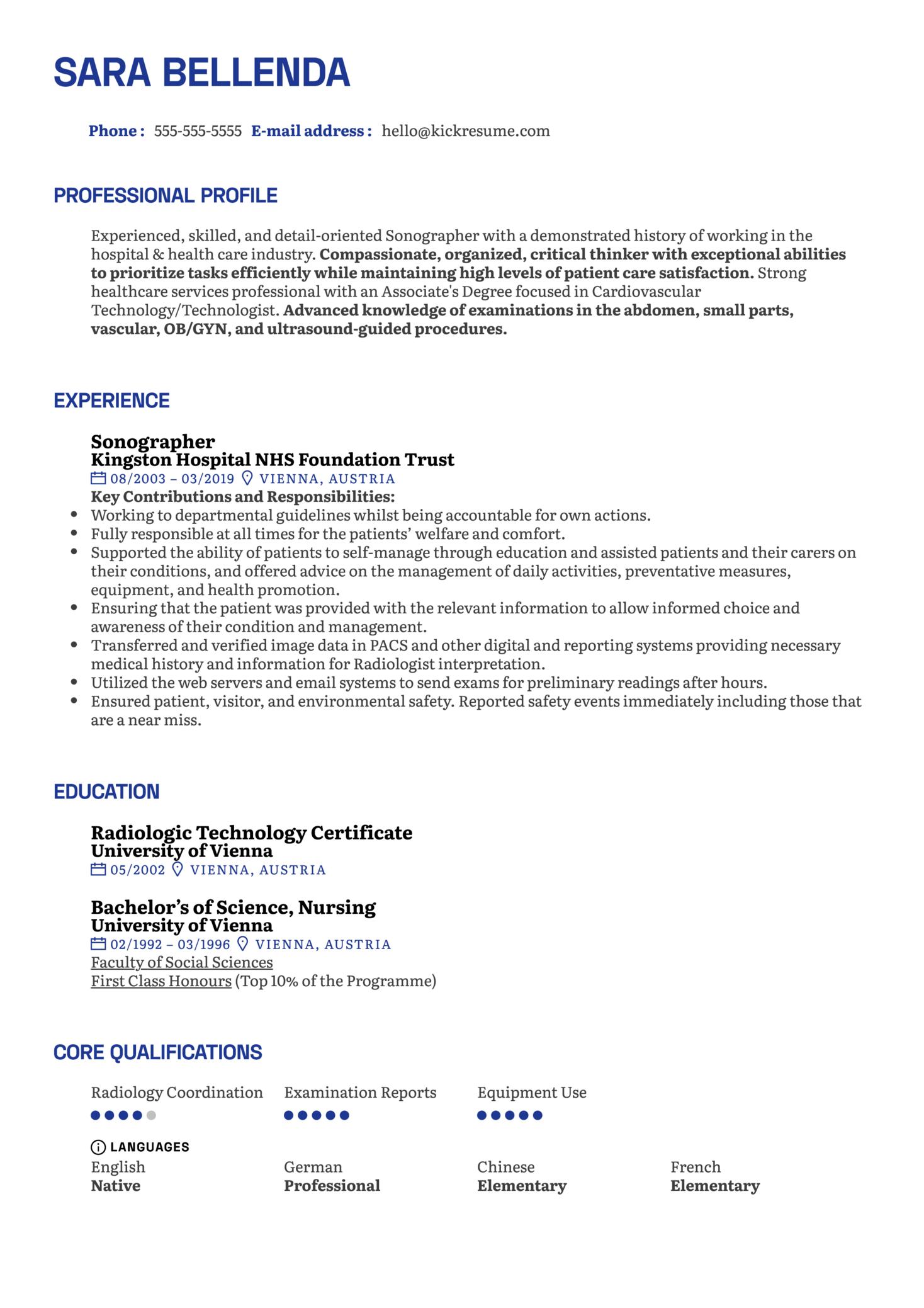 Sonographer Resume Example (Teil 1)