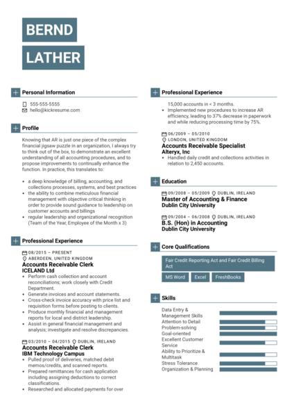 Accounts Receivable Clerk Resume Example