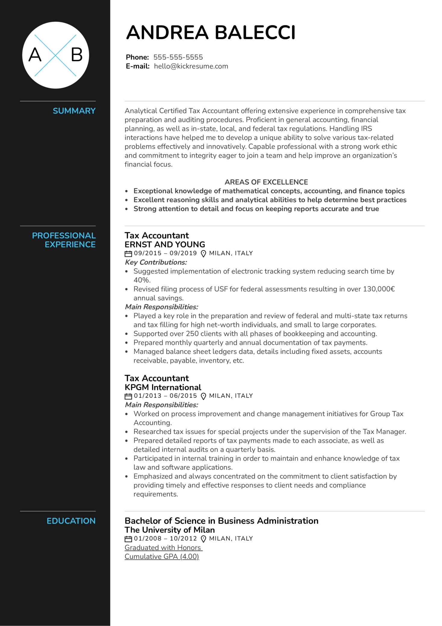 Tax Accountant Resume Sample (Teil 1)