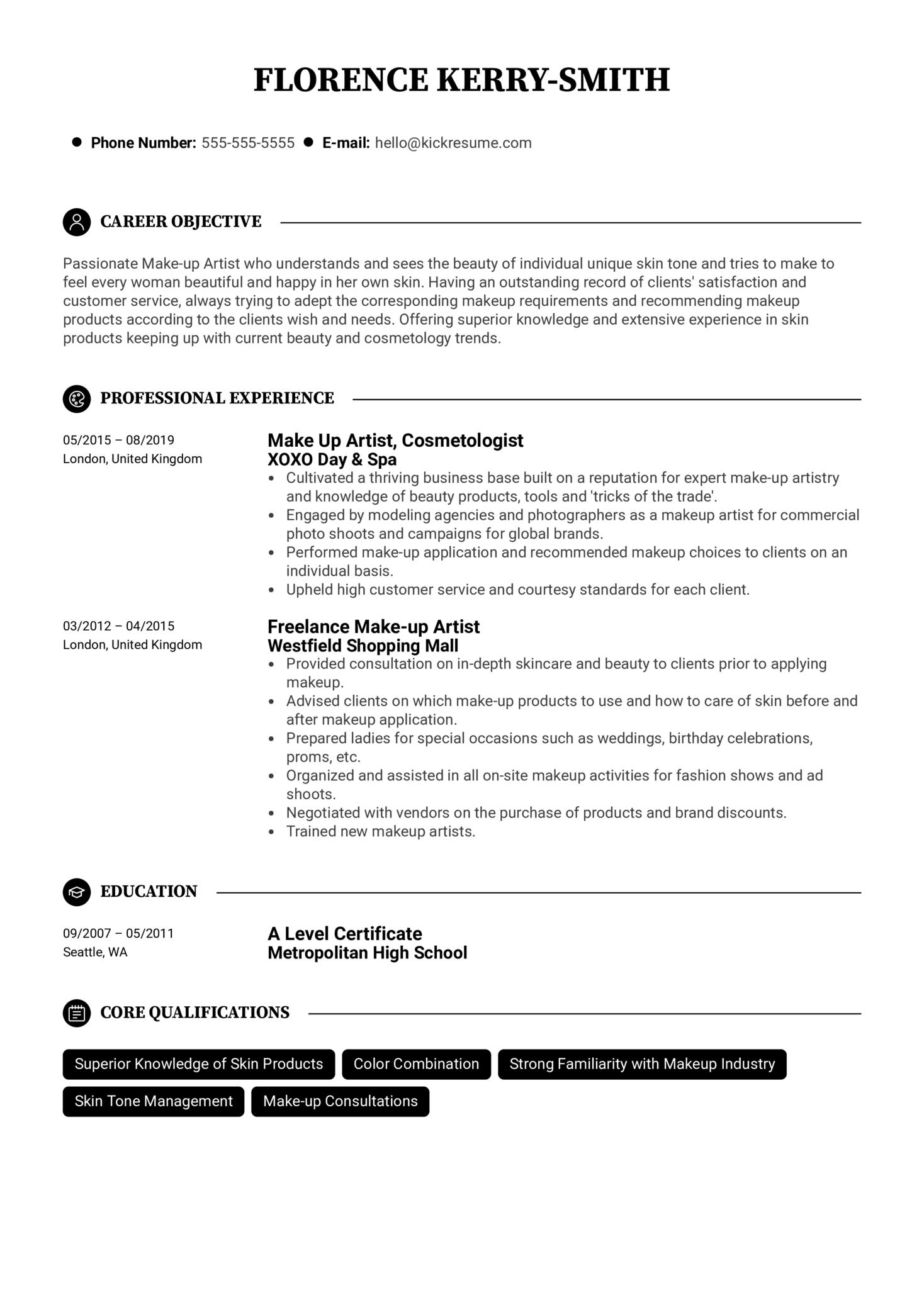 Make-up Artist Resume Example (parte 1)