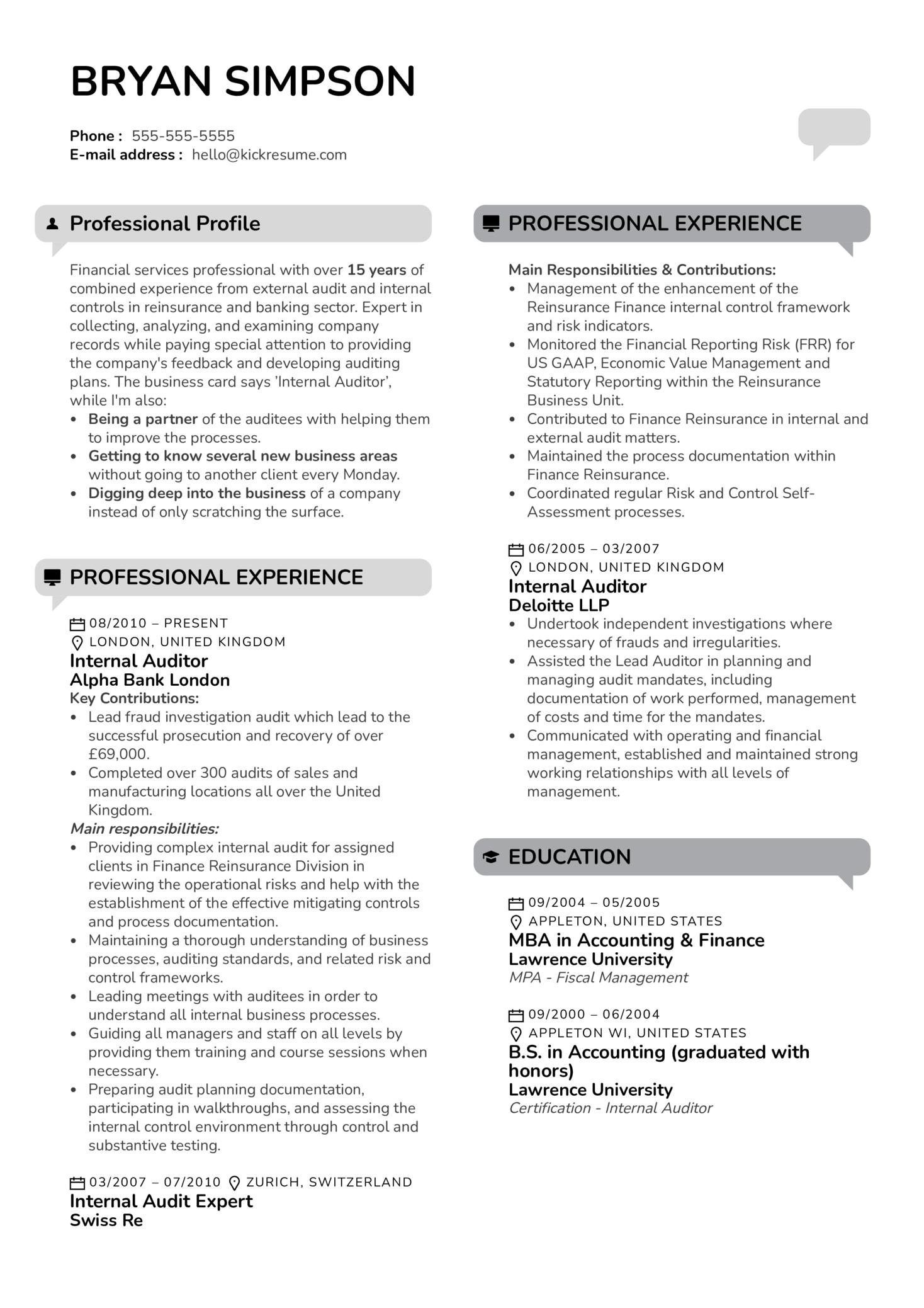 Internal Auditor Resume Sample (parte 1)
