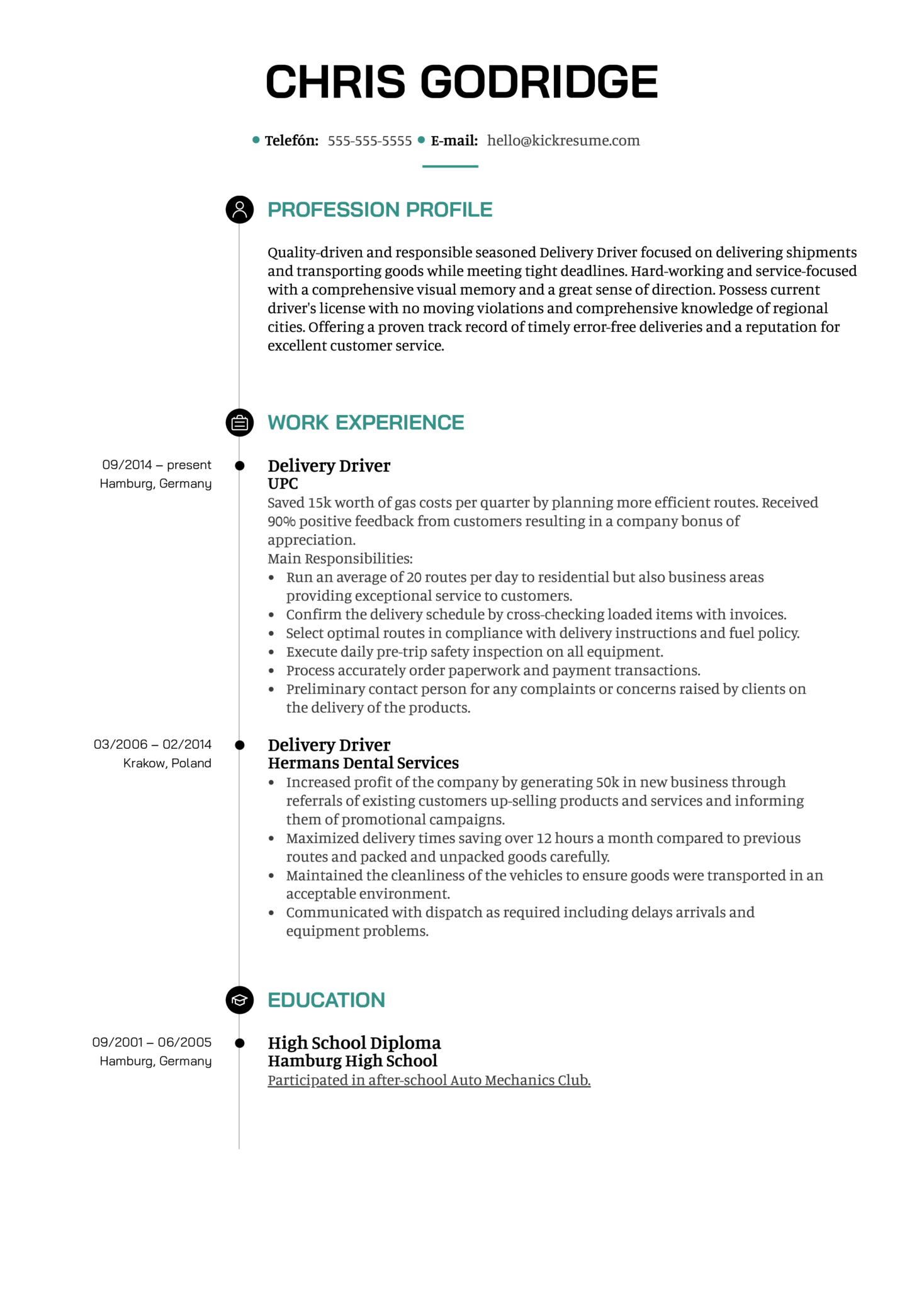 Delivery Driver Resume Sample (časť 1)