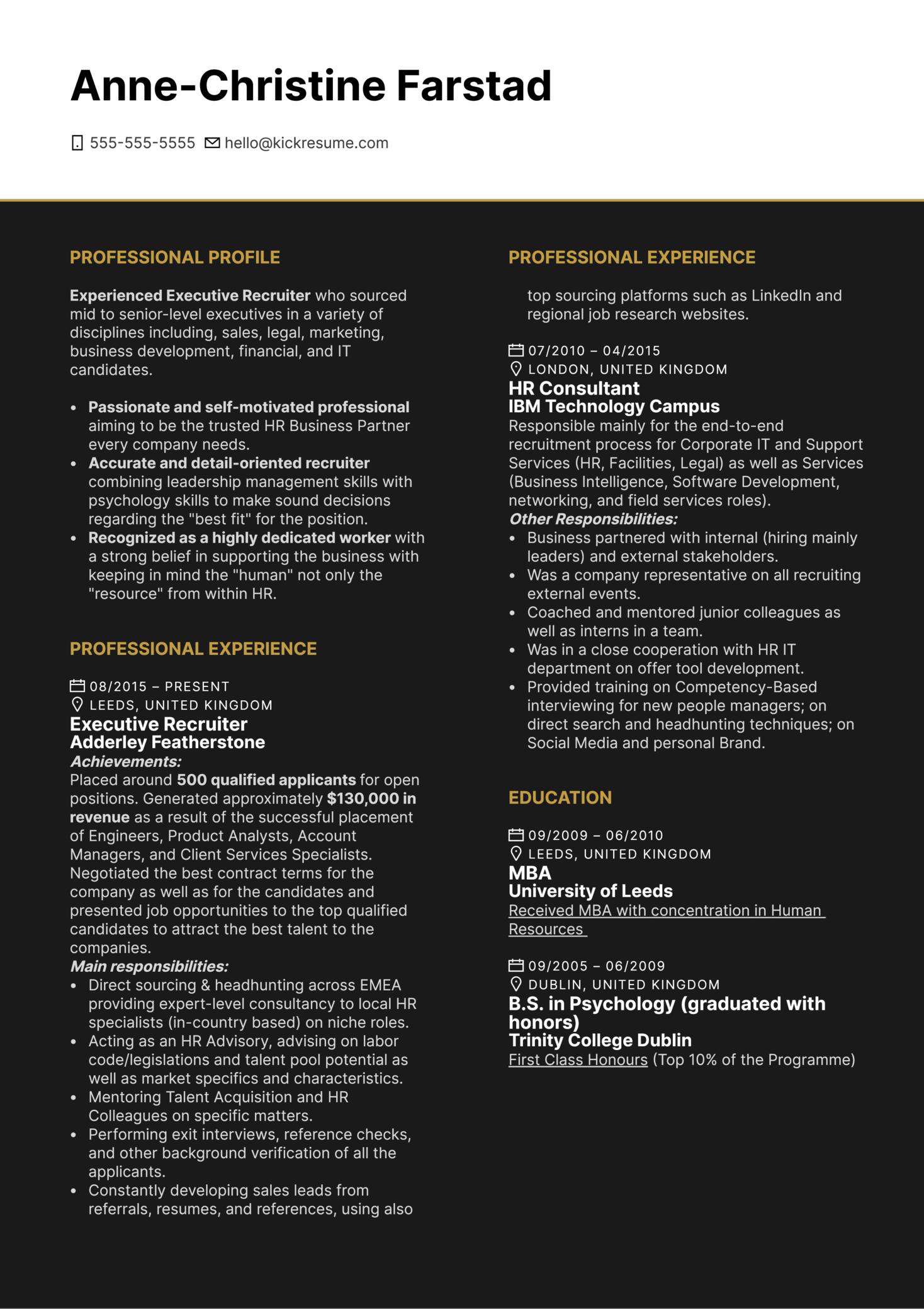 Executive Recruiter Resume Example (Parte 1)