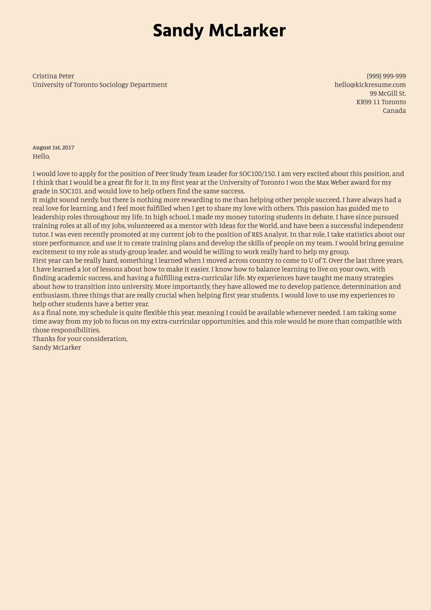 Study Team Leader Cover Letter Sample