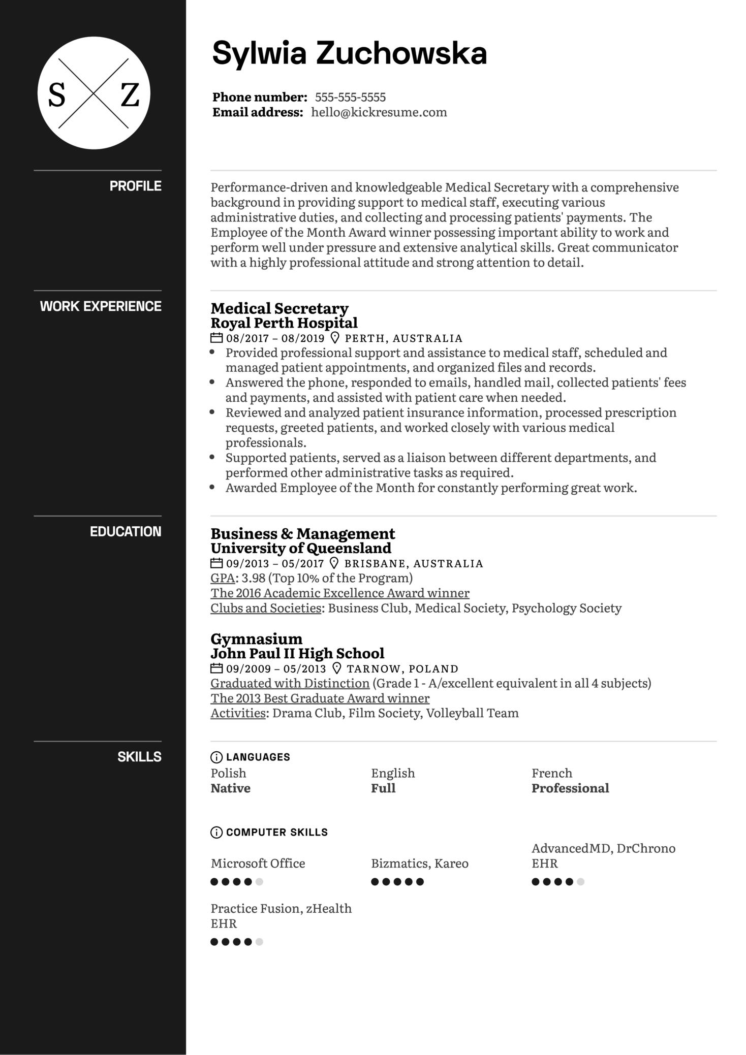 Medical Secretary Resume Example (Part 1)