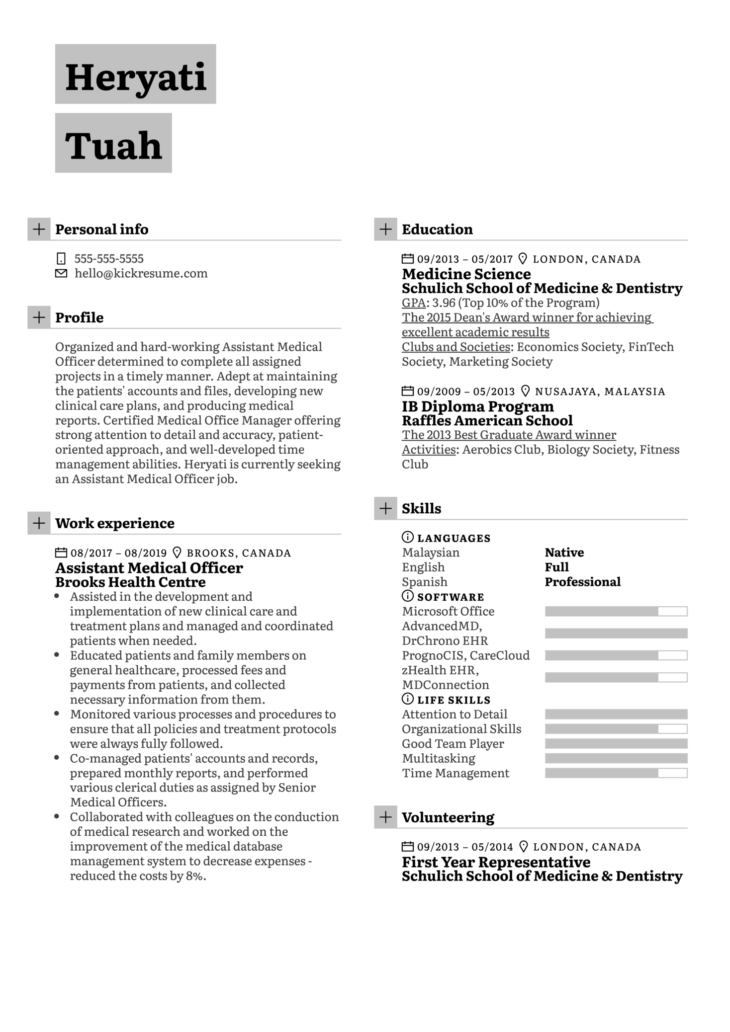 Medical Officer Resume Example (parte 1)