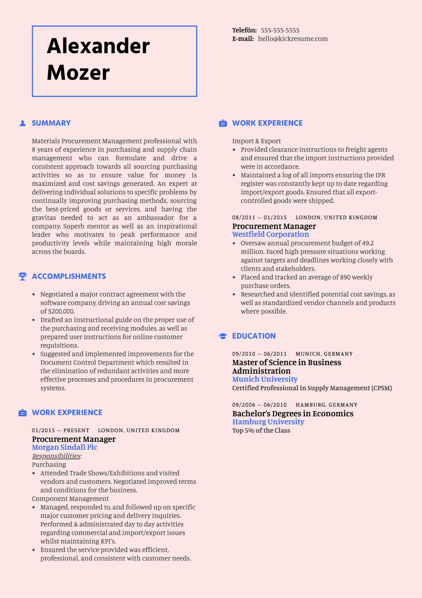 Procurement Manager Resume Sample (Teil 1)