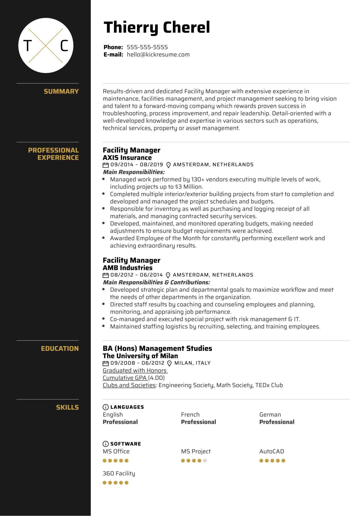 Facility Manager Resume Resume Sample (Parte 1)