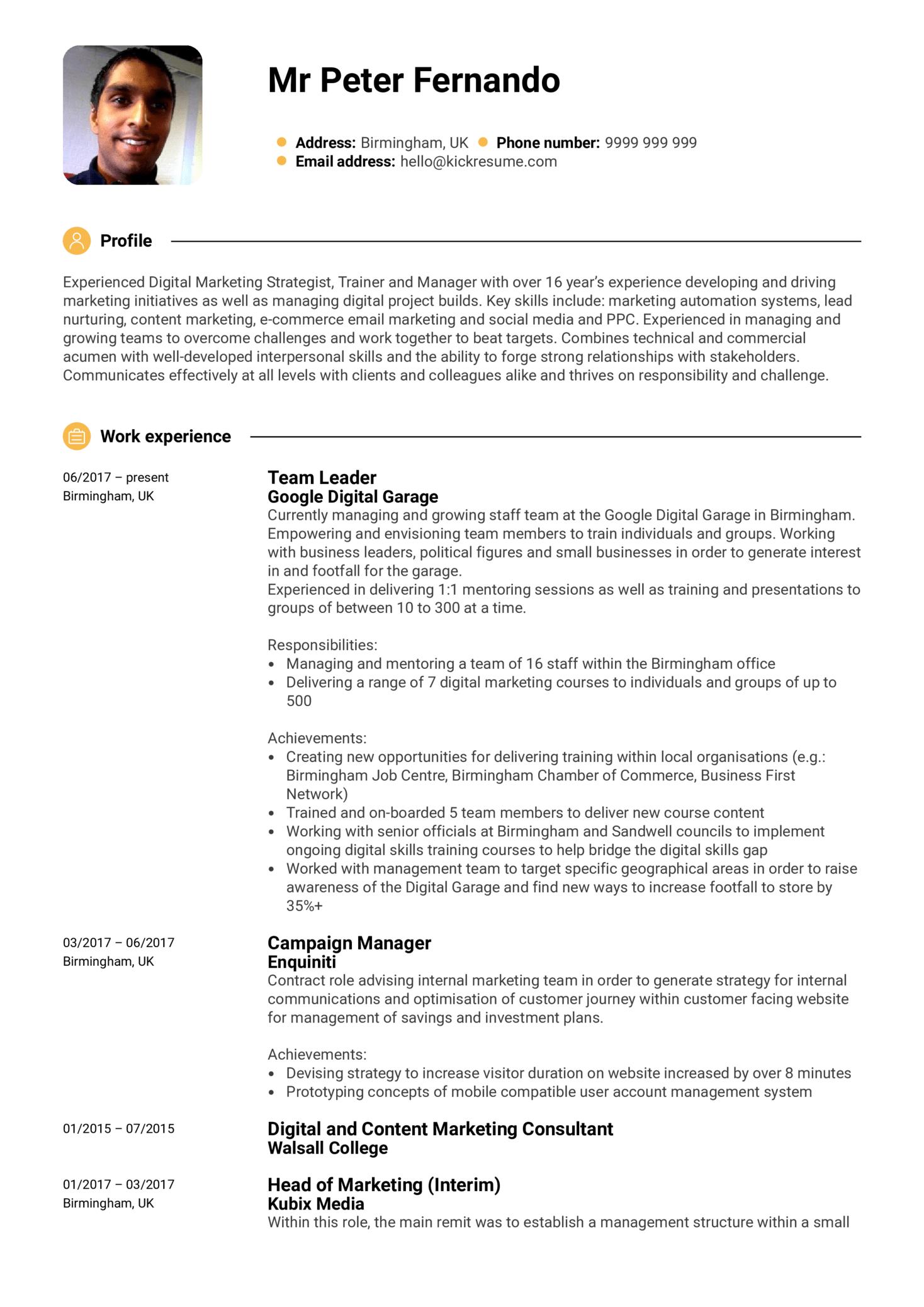 Google Team Leader Resume Sample (Part 1)