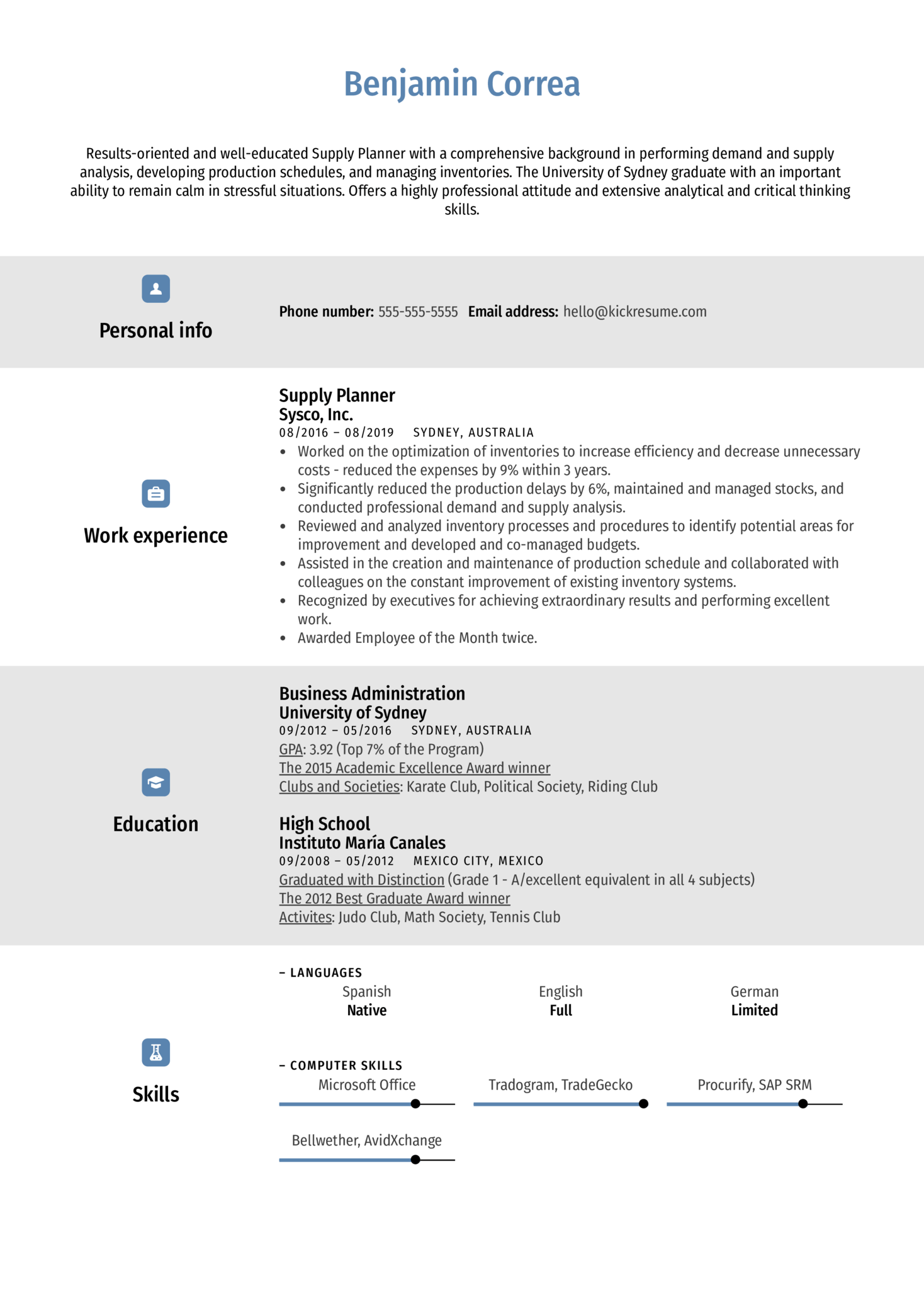 Supply Planner Resume Example (parte 1)