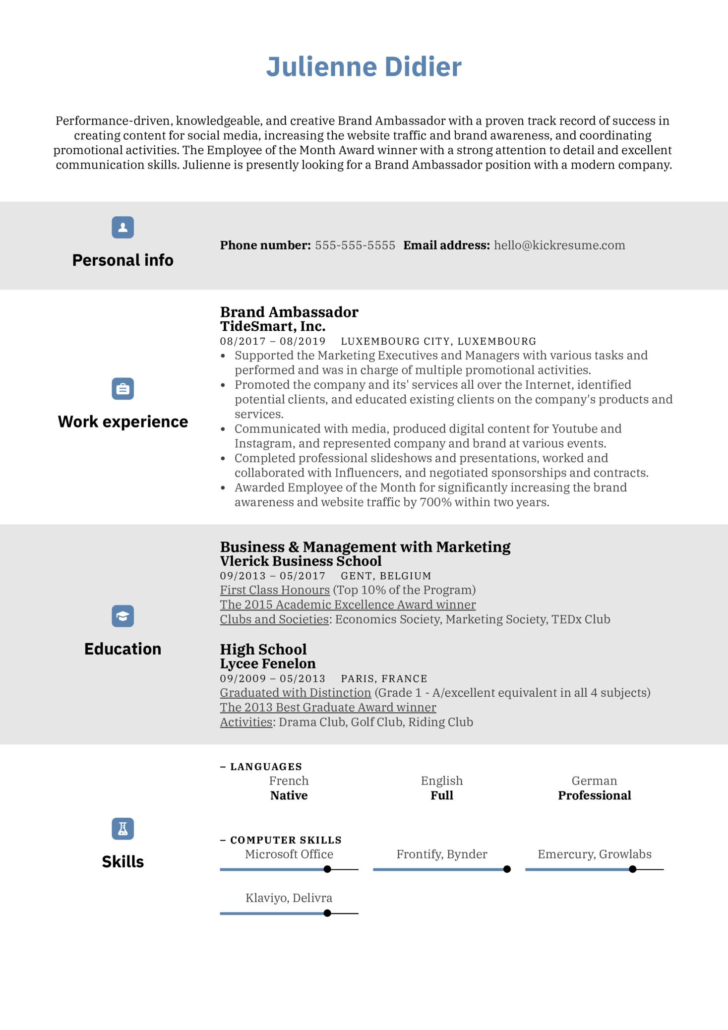 Brand Ambassador Resume Example (Part 1)