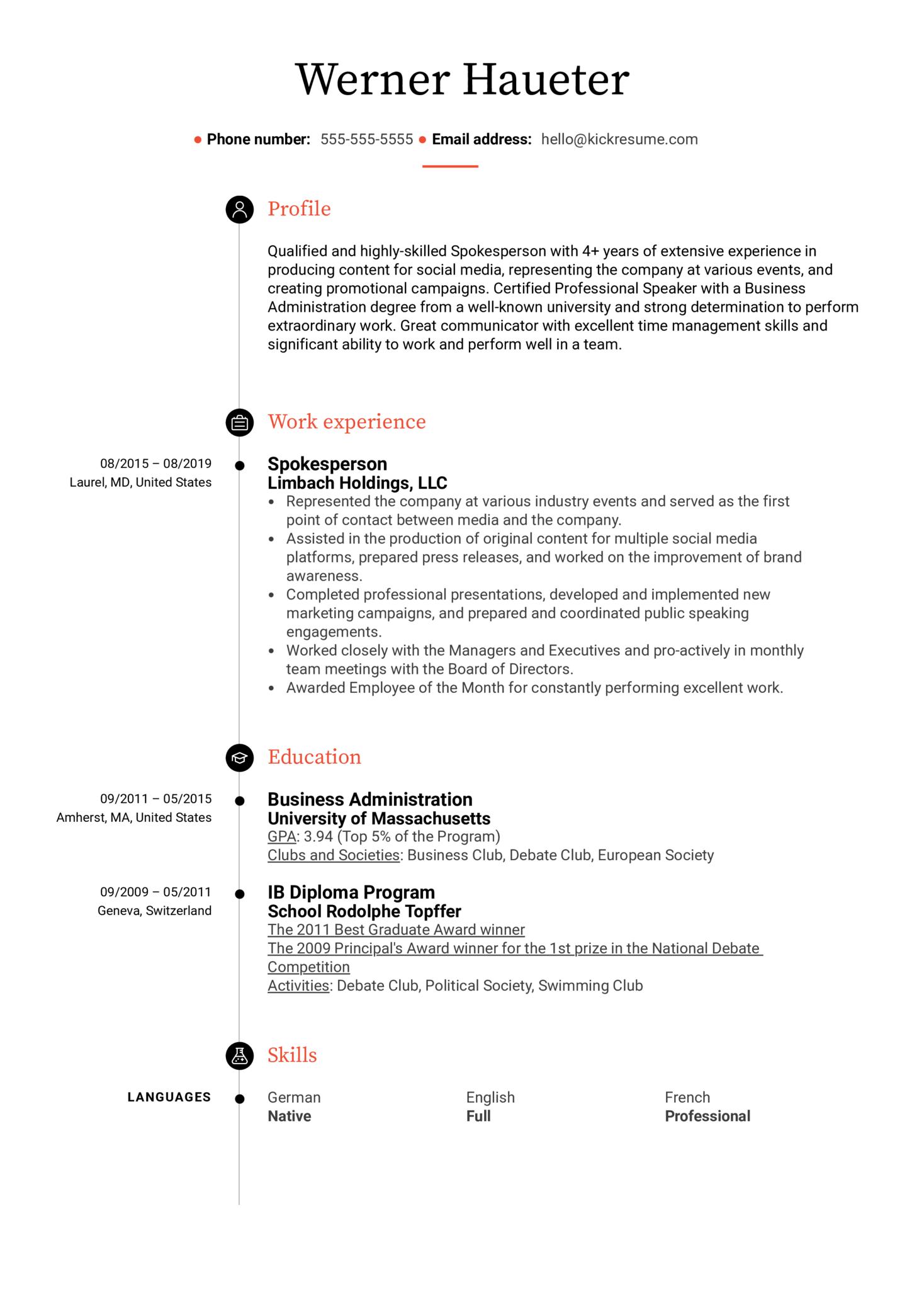 Spokesperson Resume Sample (Part 1)
