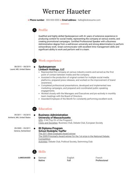 Spokesperson Resume Sample