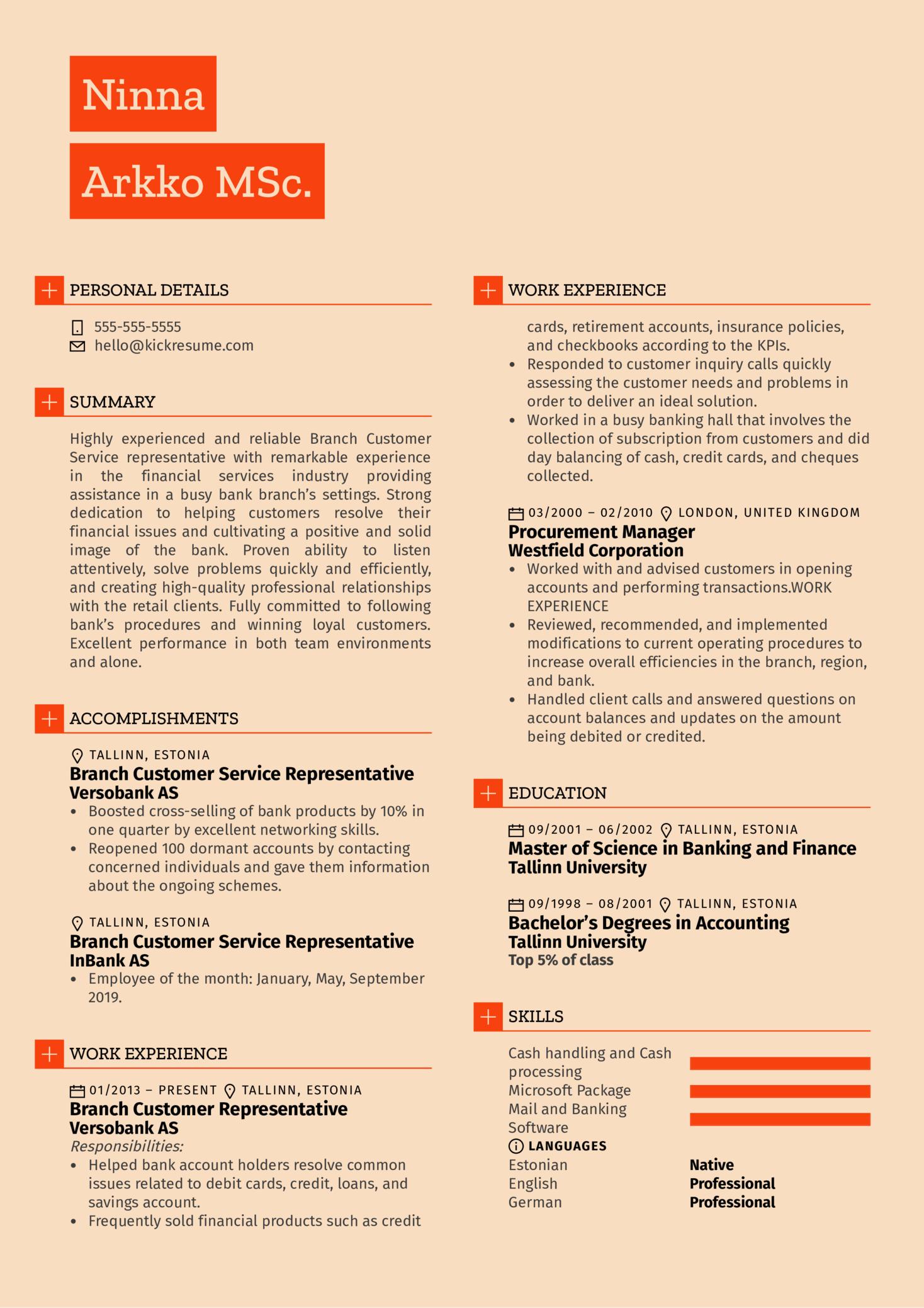 Branch Customer Service Representative Resume Example (Teil 1)