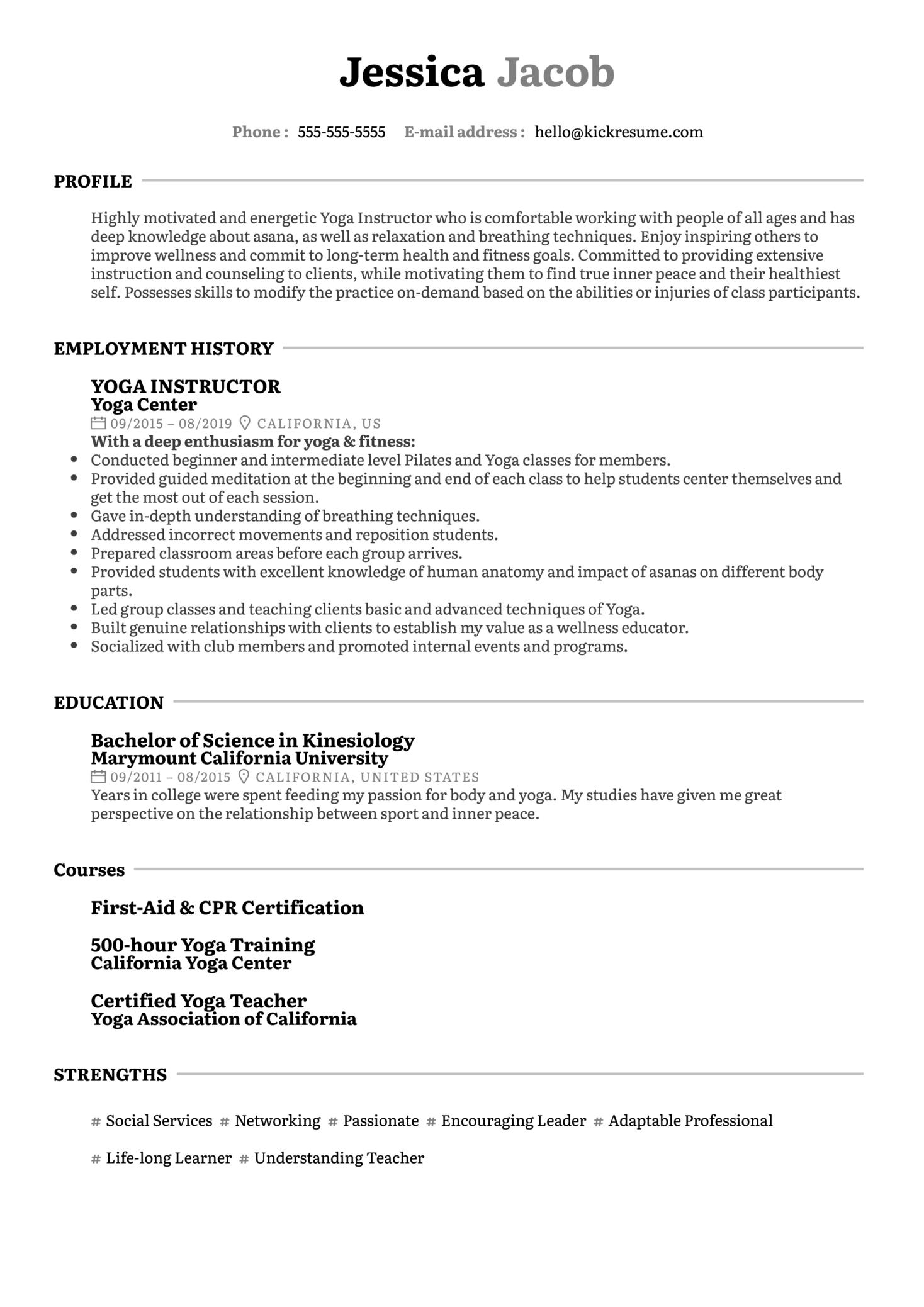 Yoga Instructor Resume Example (časť 1)