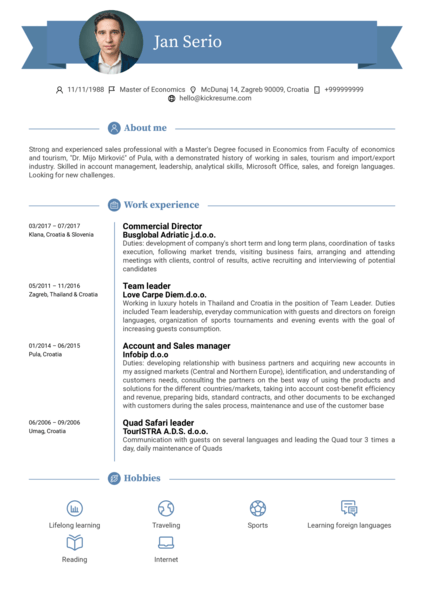 Commercial Director Resume Example
